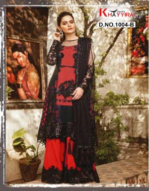 red black top -butterfly net | bottom + inner - santoon | dupatta - butterfly net fabric embroidery work wedding