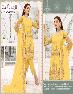 yellow top - georgette heavy embroidery | bottom + inner- santoon silk with patch |dupatta - heavy nazmeen embroidery fabric embroidery work wedding