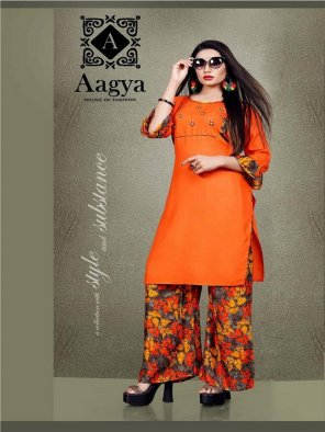 orange rayon fabric printed with hand work work casual