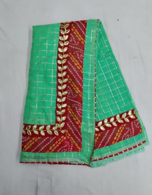 rama parrot cotton zari chex  fabric gotta patti work ethnic