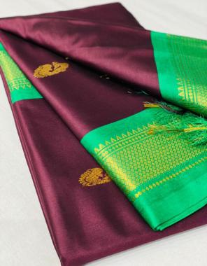 coffee paithni silk with golden weaving border fabric weaving border  work wedding