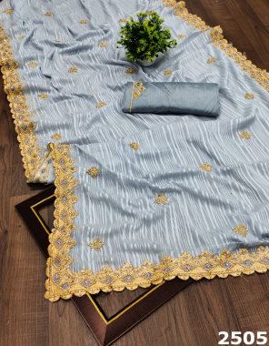 grey saree -rimzim | blouse -satin banglori fabric fancy foam embroidery stone work work party wear