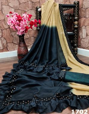 black cream saree - rangoli silk with common black padding |blouse -satin banglori  fabric hot fix diamond work border with designer frill work wedding