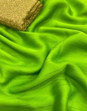 parrot saree -shimmer chiffon zari all over |blouse -seqeunce  fabric plain work festive
