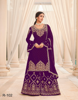 wine top - georgette with embroidery work + stone |inner -santoon |palazzo -georgette with heavy embroidery stitched free size |dupatta -georgette | size -max upto 48 |type -semi stitched (mastercopy) fabric embroidery stone work work party wear