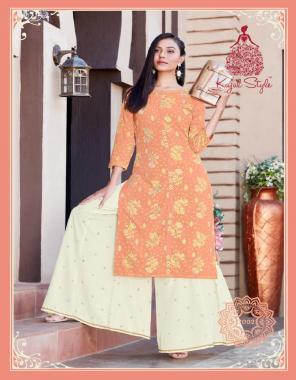 orange heavy rayon kurti with palazzo fabric gold print  work party wear