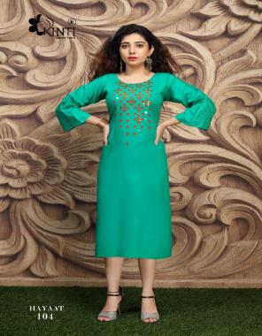 rama green rayon fabric embroidery work casual