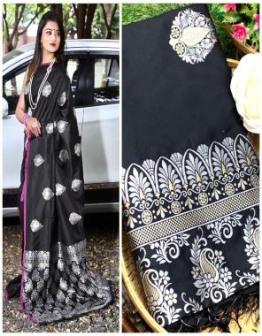 black  lichi silk fabric weaving jacqaurd work festive
