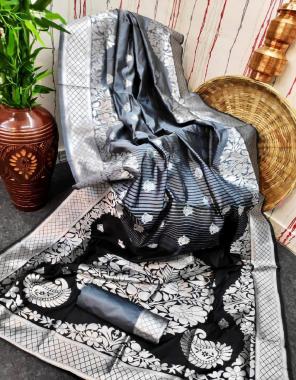 black grey lichi silk fabric weaving jacqaurd work casual