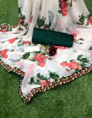 white saree - georgette   blouse - banglori silk fabric printed border work work festive