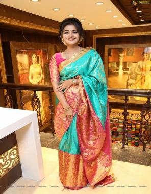 sky pink soft lichi silk fabric weaving jacqaurd work ethnic