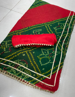 red green georgette  fabric printed leheriya work casual