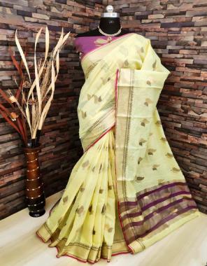 yellow  lilen silk fabric jacqaurd  work wedding