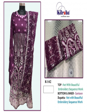 wine top -super net embroidery |bottom + inner -santoon |dupatta - net | size - fit upto 46 | type -semi stitch fabric embroidery sequence work work casual