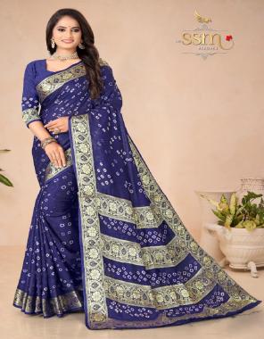 blue pure bandhej silk fabric bandhani work wedding