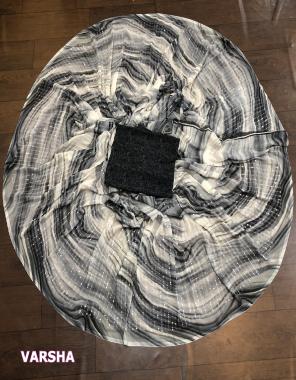 black white saree - georgette sibori print full sequence work | blouse -banglori silk fabric seqeunce work  work casual