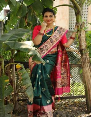 green pink pure lichi paithani fabric weaving jacqaurd work running
