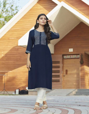 blue rayon fabric embroidery seqeunce neck work work party wear