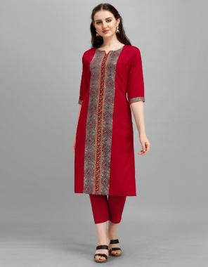 red cotton silk fabric neck print work wedding