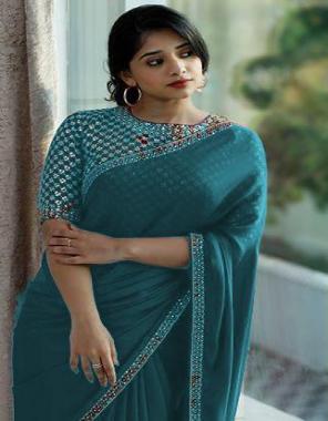 rama sky saree -vichitra silk   blouse - banglori silk fabric embroidery work wedding
