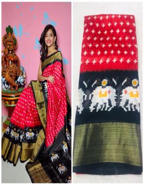 red black ikkat palu fabric printed work festive