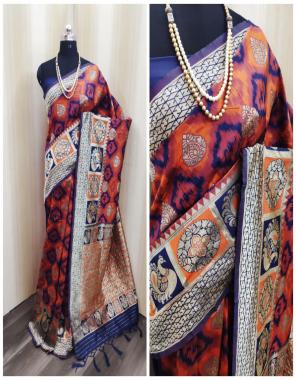 orange blue soft lichi silk fabric weaving jacqaurd  work party wear