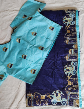 blue saree -dola silk |blouse - embroidery work full stitch size - 42 44  fabric embroidery work party wear