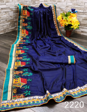 blue saree -very soft two tone paper silk | blouse -running fabric embroidery mirror  work ethnic