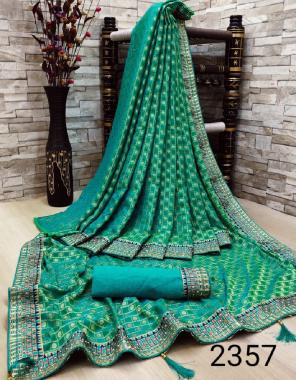 rama sky saree -jacqaurd fancy  blouse - banglori silk fabric embroidery stone work work ethnic