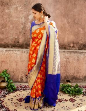orange blue soft lichi silk fabric weaving jacqaurd  work running