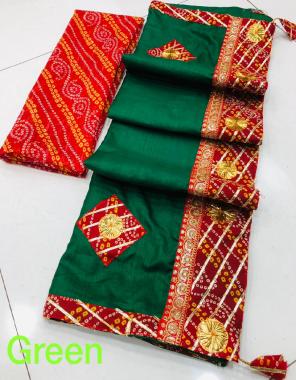 green pure dola silk fabric gotta patti work casual