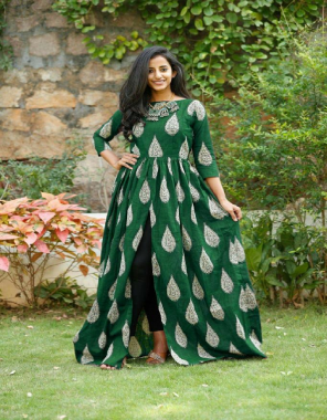green rayon with 56 inch length fabric print work party wear