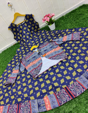 blue  cotton with length 50+ fabric printed work party wear