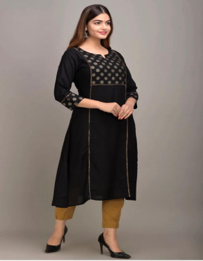 black  rayon with length 48+ fabric foil print work running