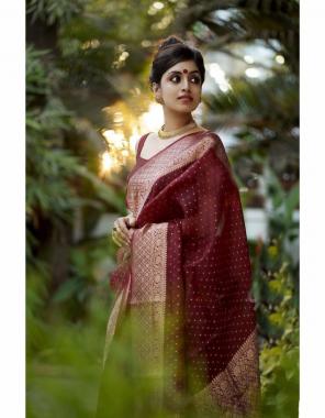 marron soft kanjivaram silk fabric weaving jacqaurd work party wear