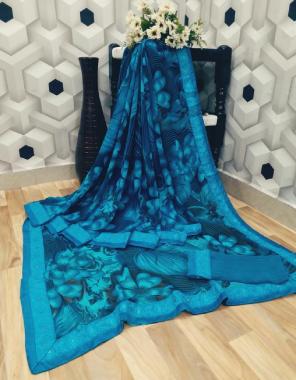 sky blue heavy pure weightless fabric printed work wedding