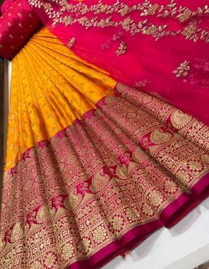 yellow lehenga -kanjivaram silk 3.20m |blouse -banglori silk 1m |dupatta - organza 2.20m fabric embroidery  work running