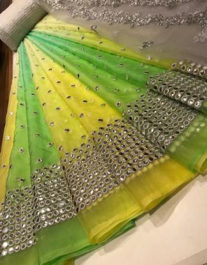yellow parrot lehenga - organza mirror 3m   blouse - banglori 1m  dupatta - organza 2.50m fabric embroidery mirror work ethnic