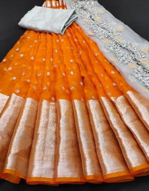 orange lehenga - pure organza 3m |blouse  -banglori 1m |dupatta -organza 2.30m fabric embroidery mirror stone  work wedding