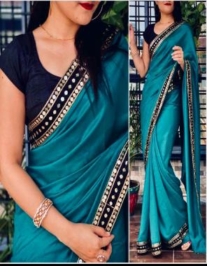 rama blue saree -vichitra silk  blouse -runnin fabric seqeunce work work party wear