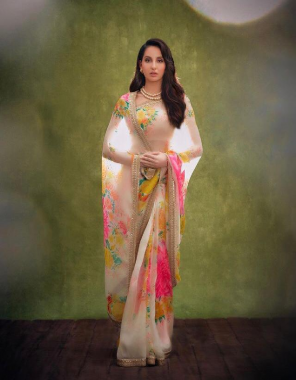 white pink saree -organza silk  blouse -banglori silk fabric printed work ethnic