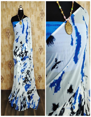 blue white georgette  fabric saburi print work running