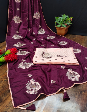 wine saree -pure dola silk | blouse -banglori fabric embroidery work festive