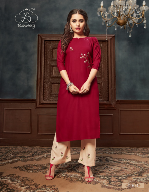 red rayon length 46 fabric embroidery work wedding