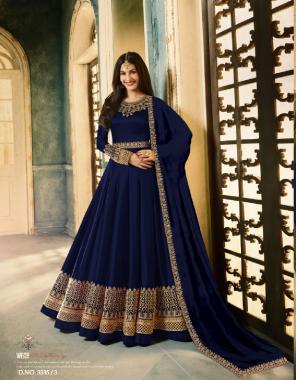blue top -heavy rangoli   sleeve - heavy rangoli  inner + bottom -santoon  length -max upto 56   size-max upto 46   flair -3m   type -semi stitch fabric embroidery work wedding