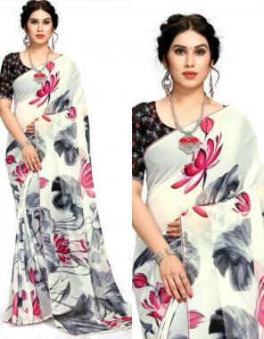 white soft pure georgette fabric digital print work ethnic