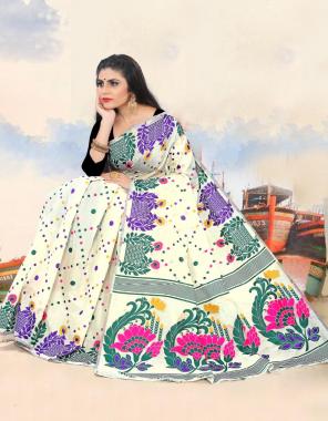 white saree -cotton  blouse -banglori fabric weaving jacqaurd work party wear