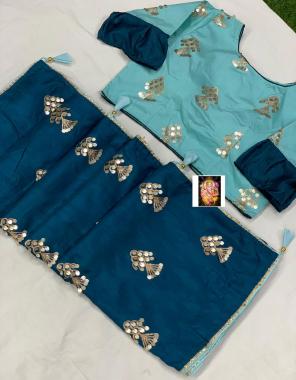 blue saree -dola silk |blouse -fancy full stitch size 42-44 fabric embrodiery seqeunce work running
