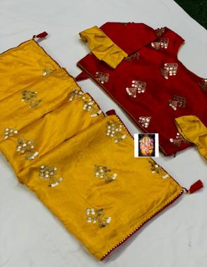 yellow saree -dola silk |blouse -fancy full stitch size 42-44 fabric embrodiery seqeunce work casual