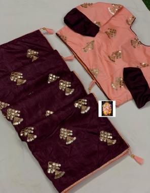 wine saree -dola silk |blouse -fancy full stitch size 42-44 fabric embrodiery seqeunce work ethnic